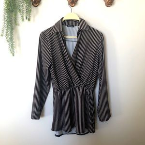 Boohoo Vertical Striped Blouse